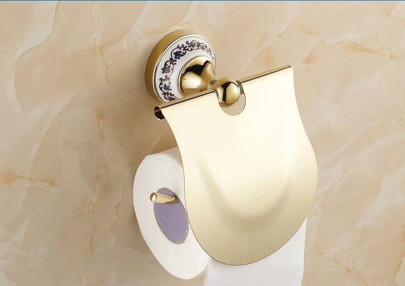 Porselen Altın Kaplama Tuvalet Kağıtlığı