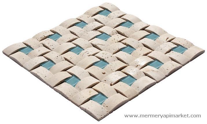 Light Traverten Mavi Camlı Hasır Mozaik