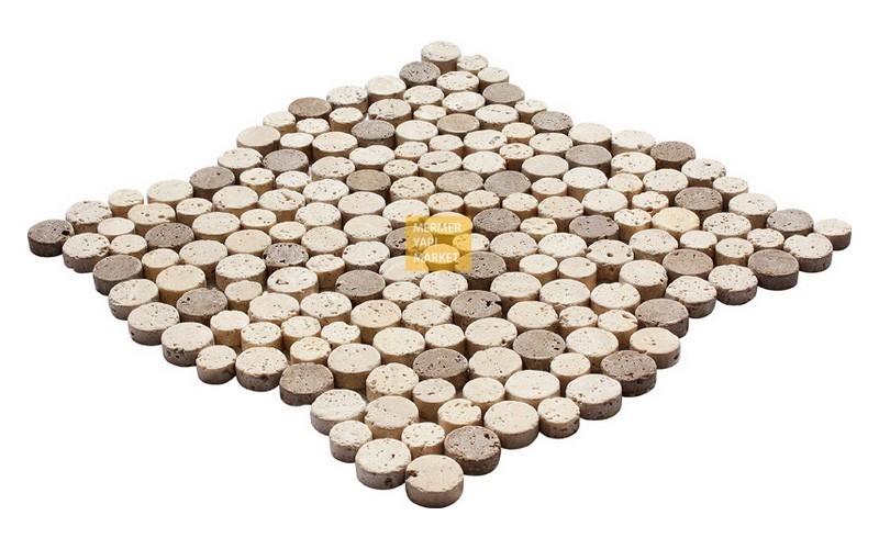 Round Mozaikler - Light Noçe Mix Traverten