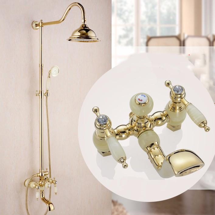 Altın Kaplama Onyx Taşlı Duş Seti