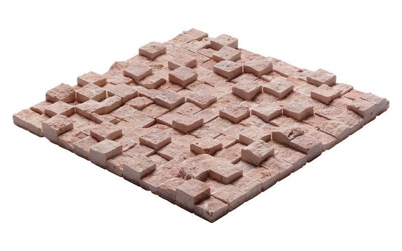Kırmızı Traverten Küp Mozaik