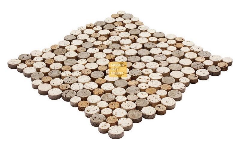 Round Mozaikler - Light Noçe Sarı Mix