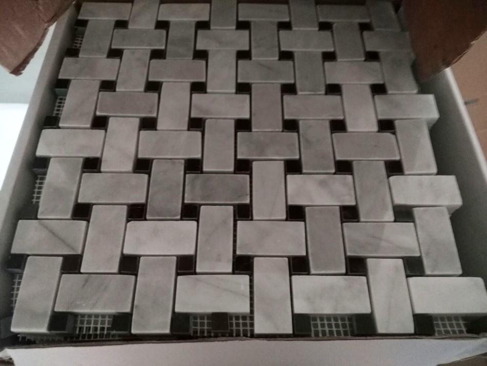 Geçmeli - Siyah - Beyaz - Mermer Mozaik Basket