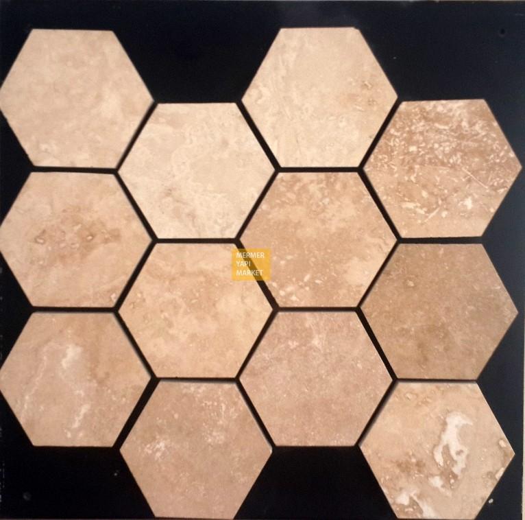 Traverten Honlu Altıgen Mozaik - 10cm