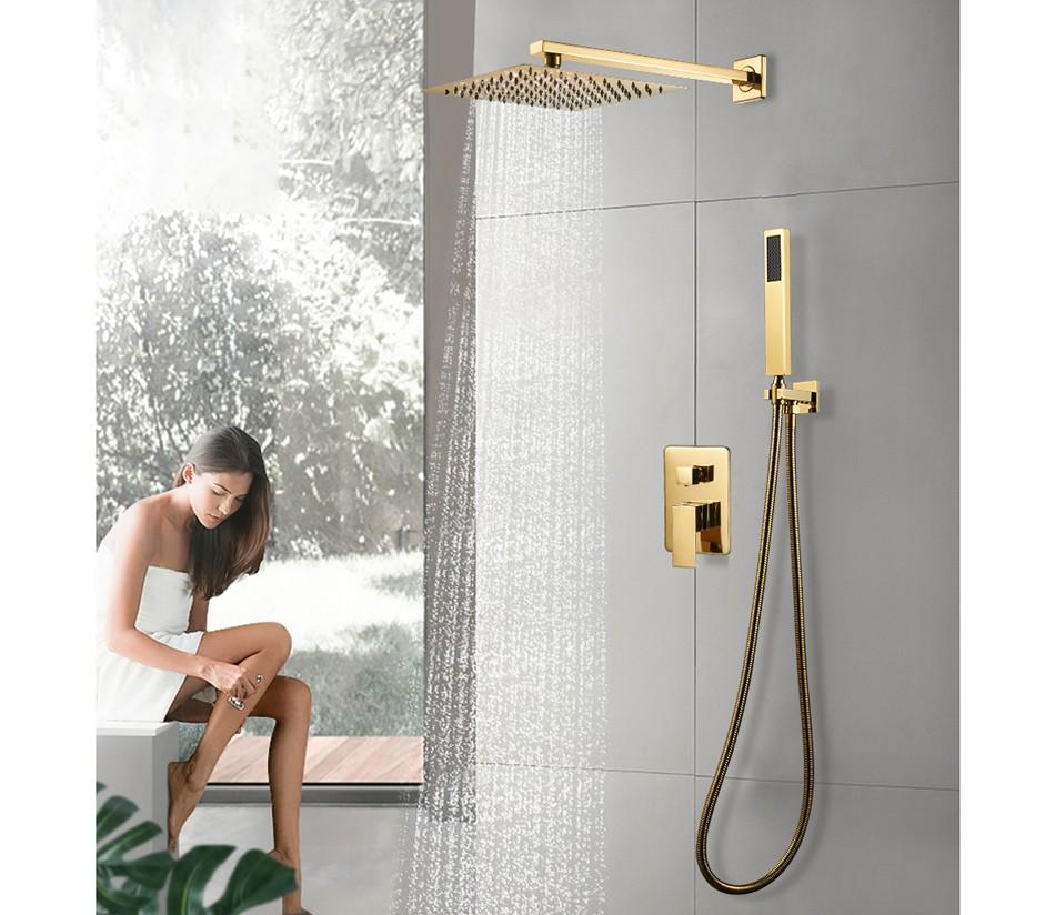 Altın Kaplama Duş Seti - Yağmur Başlıklı