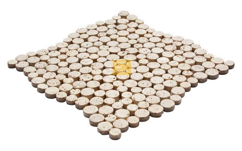 Round Mozaikler - Light Traverten