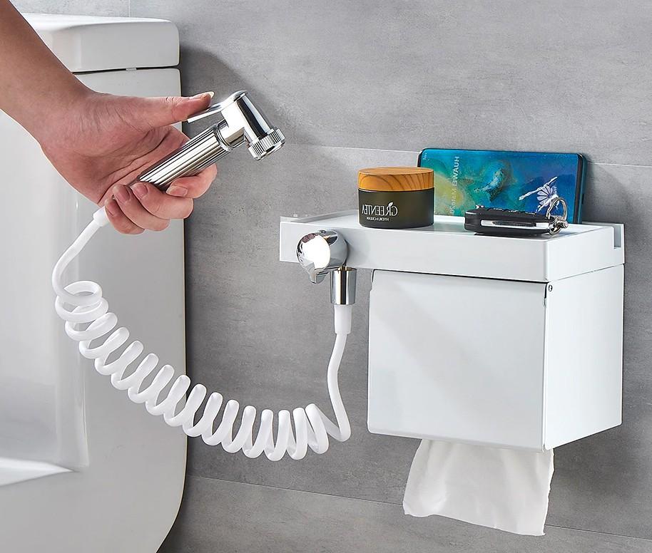 Tuvalet Kağıtlık Fıskiyeli - Beyaz