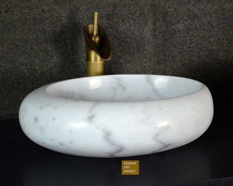 Beyaz Mermer Lavabo - Çakıl