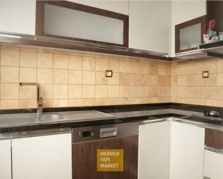 Fırçalı Traverten Doğal Taş - Mutfak Arkası