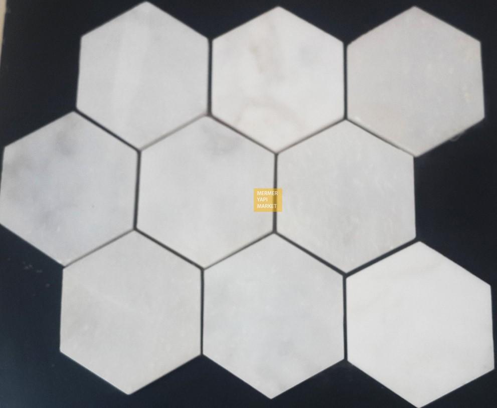 Muğla Beyazı Cilalı Altıgen Mozaik - 10cm