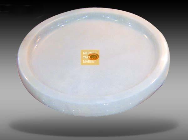 Oval Mermer Duş Teknesi - Beyaz