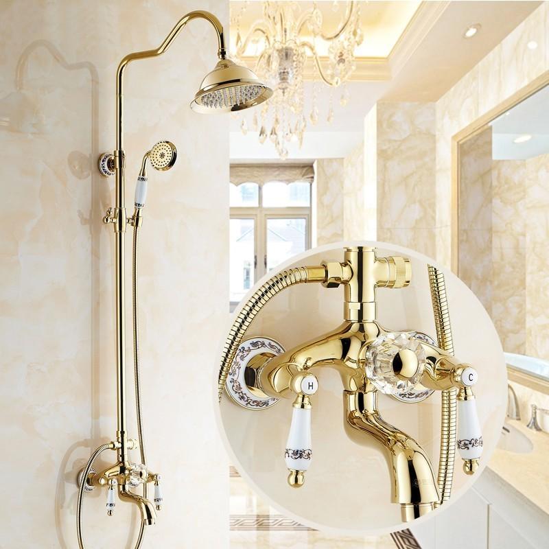 Altın Kaplama Fıskiyeli Banyo Takımı