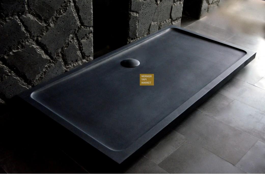 Siyah Bazalt Duş Teknesi - Uzun Boy