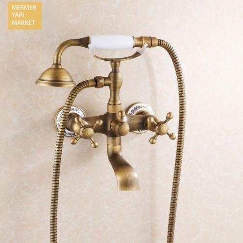 Antik Banyo Batarya Takımı Fıskiyeli  Beyaz