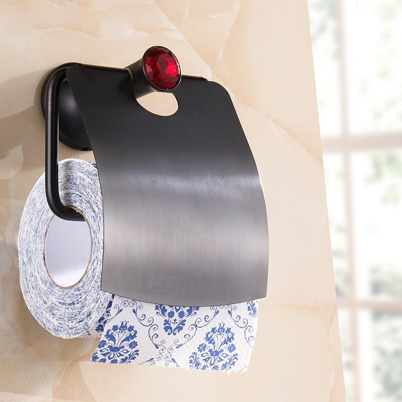 Petrol Siyahı Kaplama Banyo Tuvalet Kağıtlık